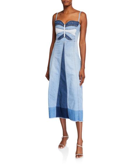 REDValentino Butterfly Intarsia Denim Midi Dress
