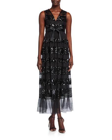 REDValentino V-Neck Sequin-Stripe Sleeveless Tulle Dress w/ Bow