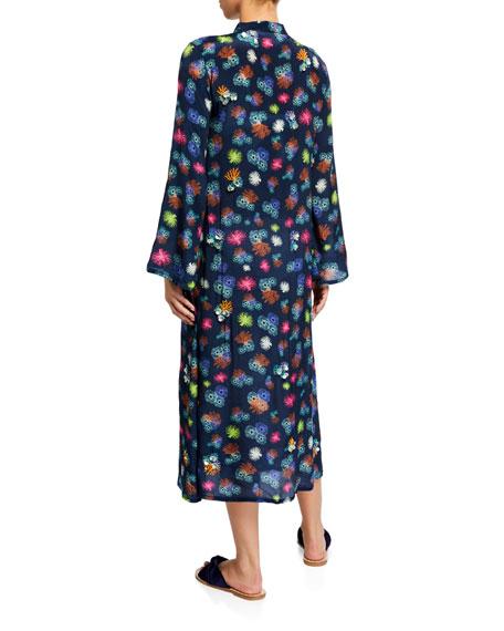 Verandah Printed Hand Beaded Kimono Coverup