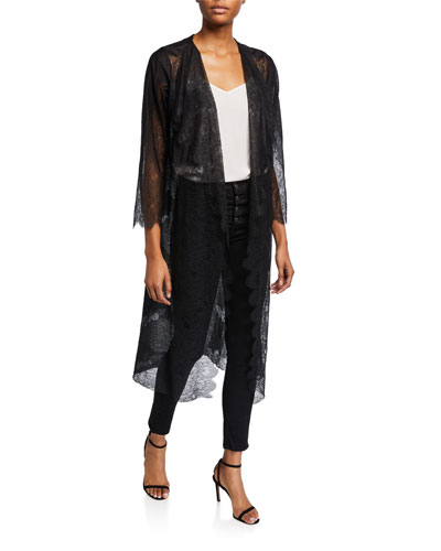 Long-Sleeve Lace Duster