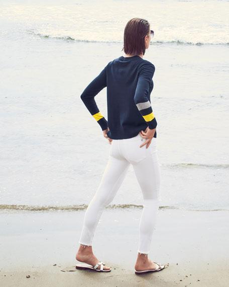 Lisa Todd Sneak Attack Stripe Sleeve Sweater w/ Side-Zip Inset