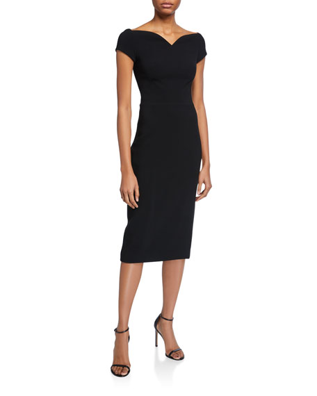 Theia Barely Off-the-Shoulder Portrait-Neck Stretch Crepe Dress