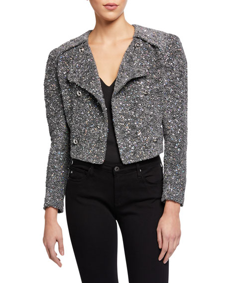 Iro Sorla Sequined Strong-Shoulder Tweed Jacket