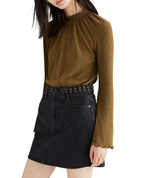 Madewell Denim Mini Skirt with Grommets