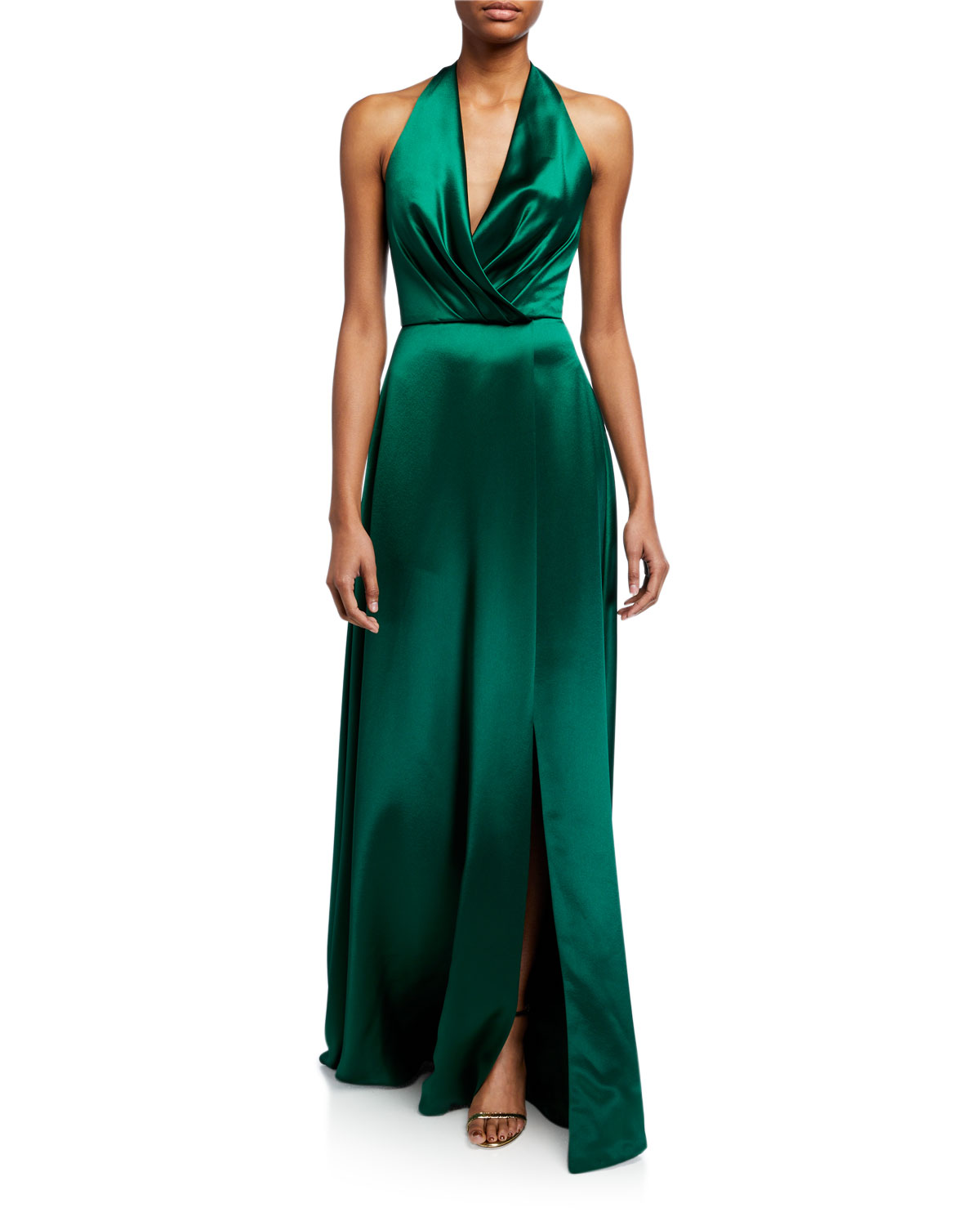 plunge-front-heavy-charmeuse-satin-halter-gown by theia