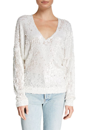 Iro Around Sequined Long-Sleeve Top