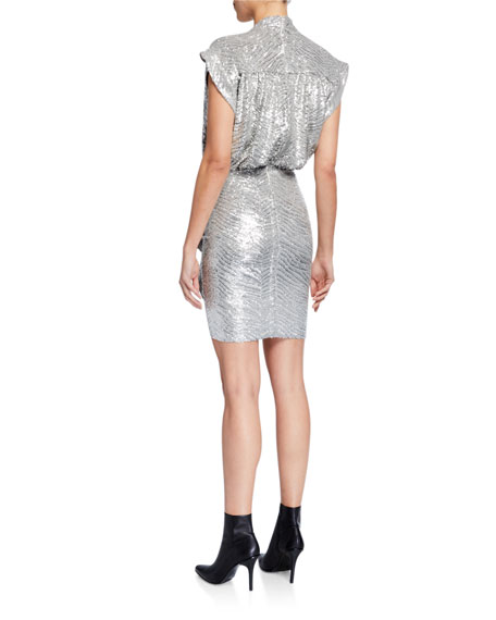 Iro Sagria Draped Metallic Cocktail Dress