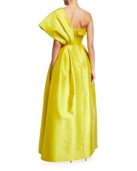 Sachin & Babi Clara One-Shoulder Bustier Ball Gown w/ Bow Detail