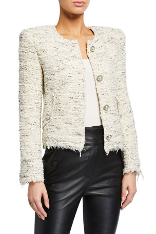 Iro Mercie Strong-Shoulder Tweed Jacket