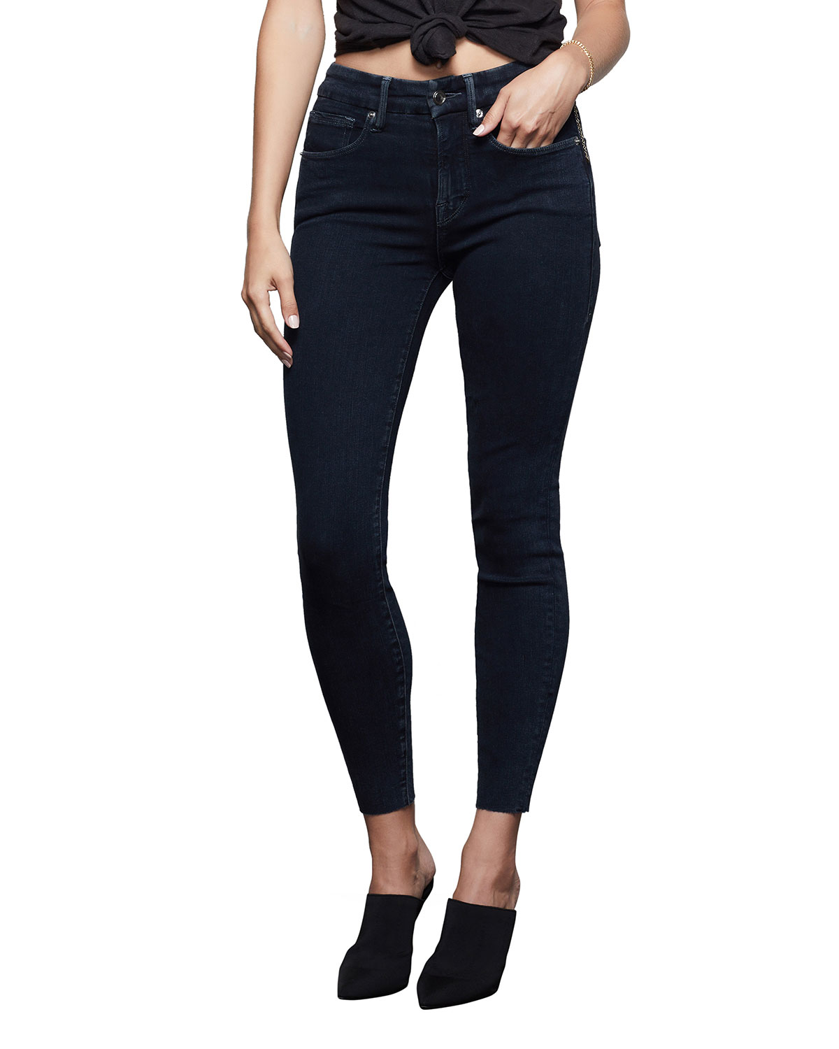 Good American Good Legs Cropped Raw-Edge Jeans