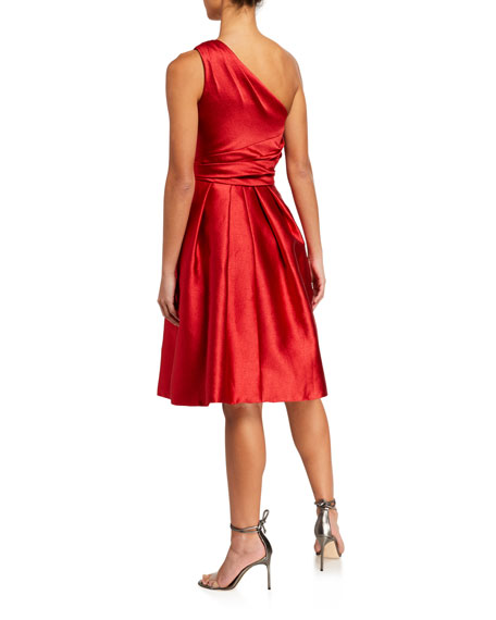Theia One-Shoulder Sleeveless Pebble Mikado Party Dress