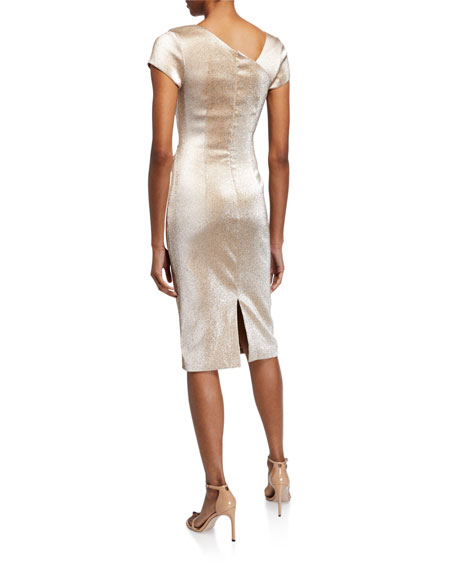 Image 2 of 2: Stretch Metallic Cap-Sleeve Asymmetrical Draped Sheath Dress