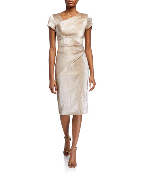 Image 1 of 2: Stretch Metallic Cap-Sleeve Asymmetrical Draped Sheath Dress