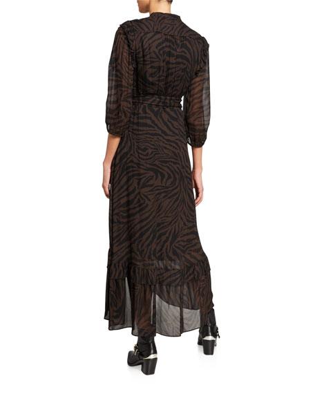 ba&sh Selena Zebra-Print 3/4-Sleeve Wrap Dress