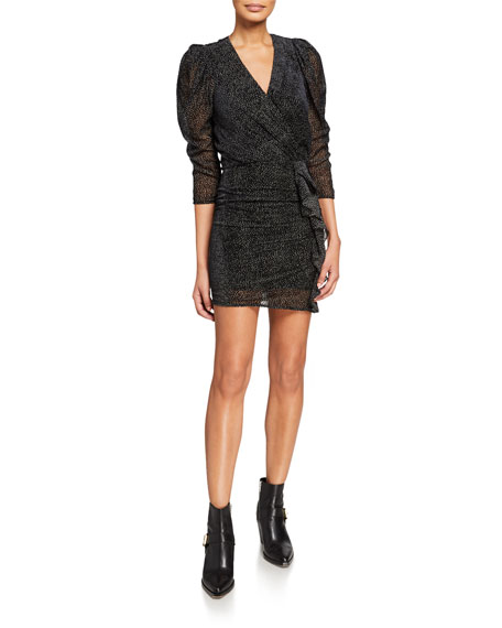 Ba&sh CELIA VELVET DOT 3/4-SLEEVE RUFFLE COCKTAIL DRESS
