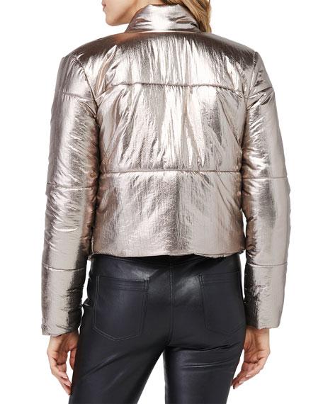 David Lerner Bella Metallic Crop Puffer Jacket