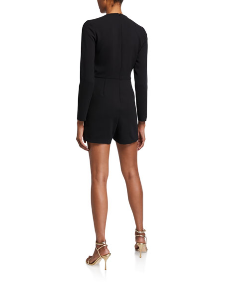 Shoshanna Naeva Long-Sleeve Stretch Crepe Twist-Front Playsuit