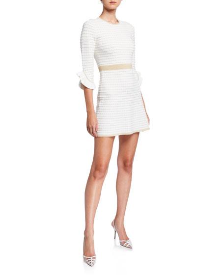 Shoshanna Claira Textured Knit Mini Dress w/ Metallic Trim