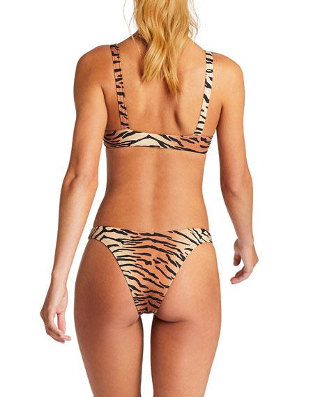 Vitamin A Lou Tiger Tie-Front Bust-Enhancing Bikini Top