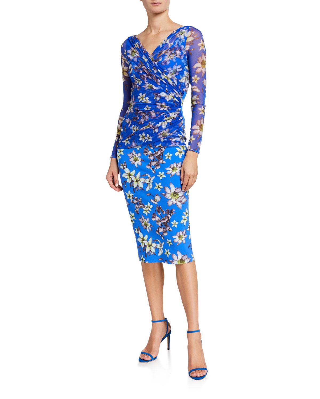 Chiara Boni La Petite Robe Floral V-Neck Long Sleeve Illusion Overlay Dress