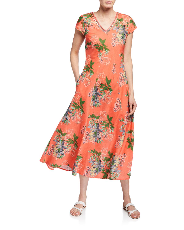 Bella Tu Leaves-Print V-Neck Cap-Sleeve Long Dress