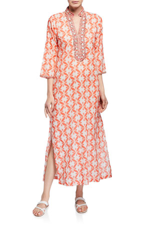 Bella Tu Marni 3/4-Sleeve Long Caftan w/ Mandarin Collar