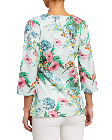 Bella Tu Audry Floral 3/4-Sleeve Stretch Cotton Tunic