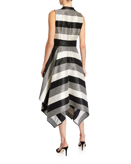 Image 2 of 3: Badgley Mischka Collection Sequin Striped Deep V-Neck Belted Handkerchief Dress