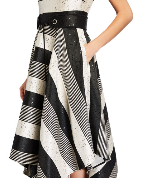 Image 3 of 3: Badgley Mischka Collection Sequin Striped Deep V-Neck Belted Handkerchief Dress