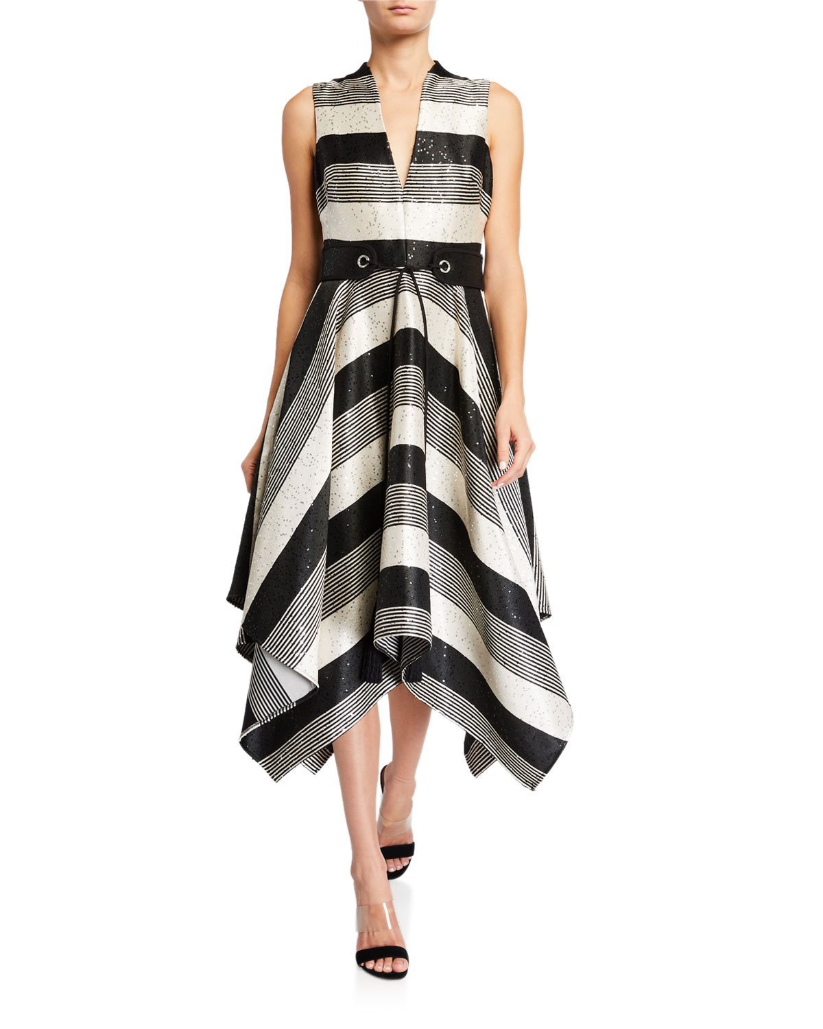 Badgley Mischka Collection Sequin Striped Deep V-Neck Belted Handkerchief Dress