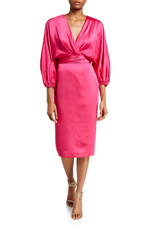 Theia Surplice Dolman-Sleeve Heavy Charmeuse Cocktail Dress