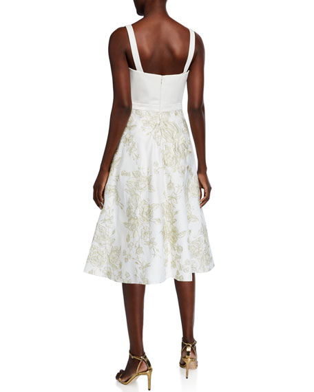 Image 2 of 2: Marchesa Notte Sleeveless Draped Satin Embroidered Skirt Dress