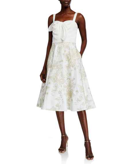Image 1 of 2: Marchesa Notte Sleeveless Draped Satin Embroidered Skirt Dress