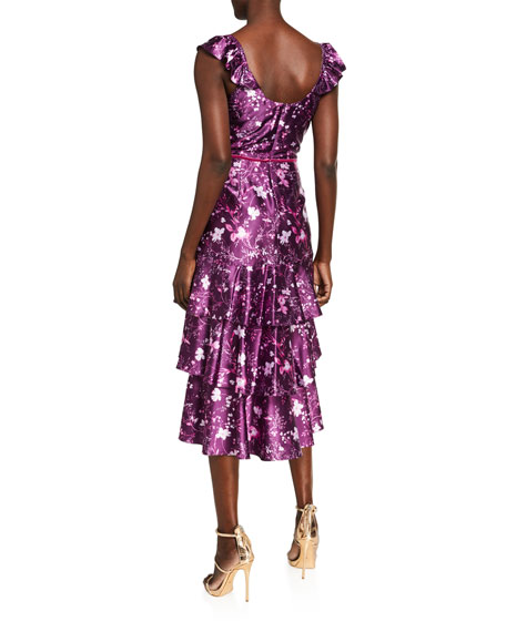 Marchesa Notte Floral Draped Charmeuse Tiered Ruffle-Trim Dress