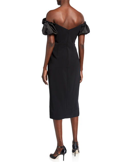 Marchesa Notte Off-the-Shoulder Satin Puff-Sleeve Stretch Crepe Dress