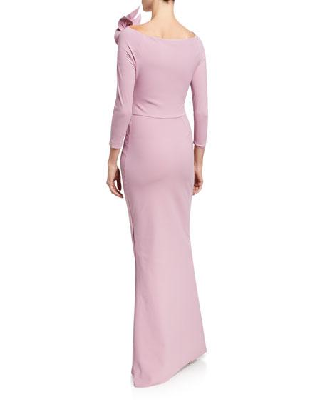 Chiara Boni La Petite Robe High-Neck 3/4-Sleeve Gown with Rosette Shoulder