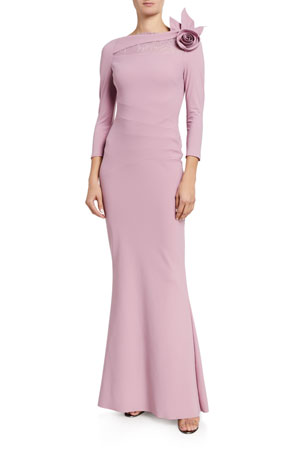 Chiara Boni La Petite Robe High-Neck 3/4-Sleeve Gown with Rosette Shoulder