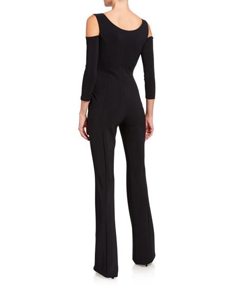 Chiara Boni La Petite Robe Cold Shoulder Long-Sleeve Jumpsuit