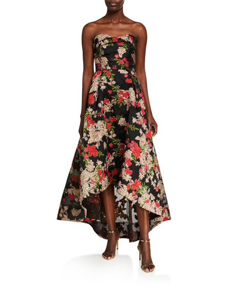 Marchesa Notte Strapless Fils Coupe High-Low Gown with Pockets