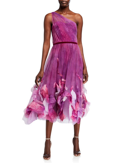 Marchesa Notte One-Shoulder Ombre Printed Textured Tulle Midi Dress