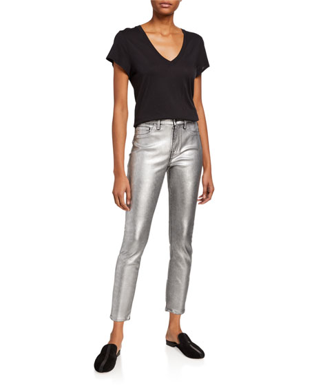 Jen7 by 7 for All Mankind Coated Leopard-Print Metallic Skinny Jeans