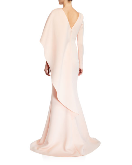 Badgley Mischka Collection V-Neck Long-Sleeve Asymmetric Ruffle Cape Shoulder Gown