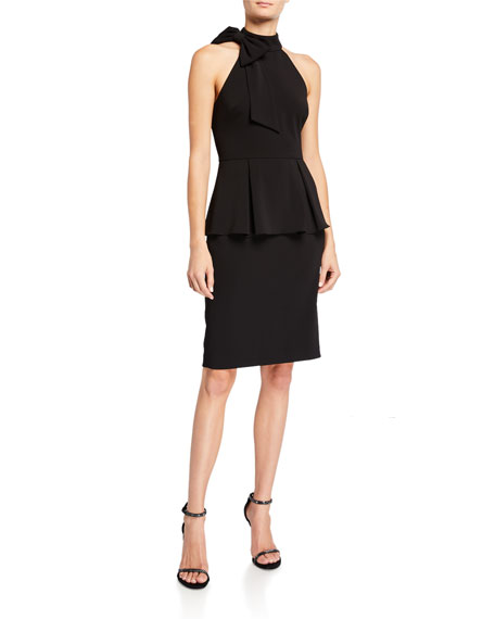 Badgley Mischka Collection Bow-Neck Crepe Jersey Peplum Halter Dress