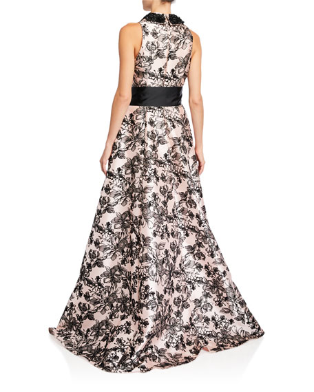 Badgley Mischka Collection Flocked V-Neck Shirtdress A-Line Gown