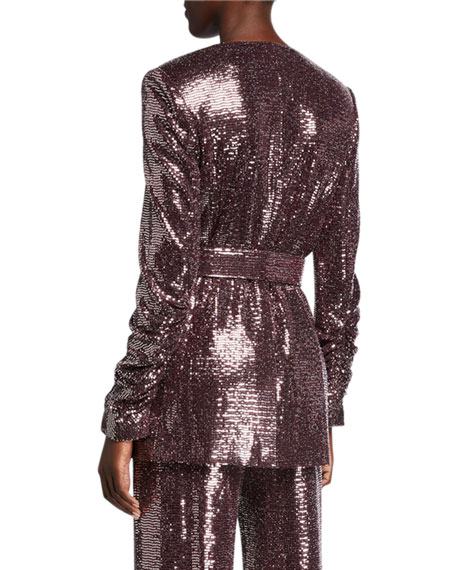 Badgley Mischka Collection Sequin Crush-Sleeve Belted Jacket