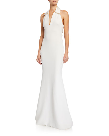 Badgley Mischka Collection Shirt Halter Gown with Embellished Back Panel