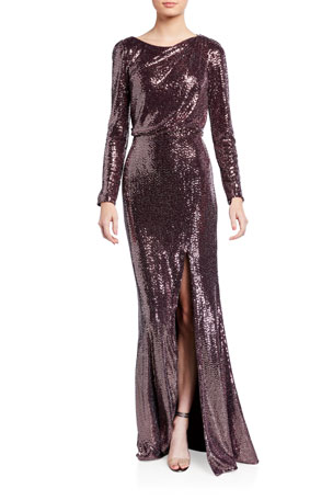 Badgley Mischka Collection Sequin Long-Sleeve Asymmetric Back Cutout Gown