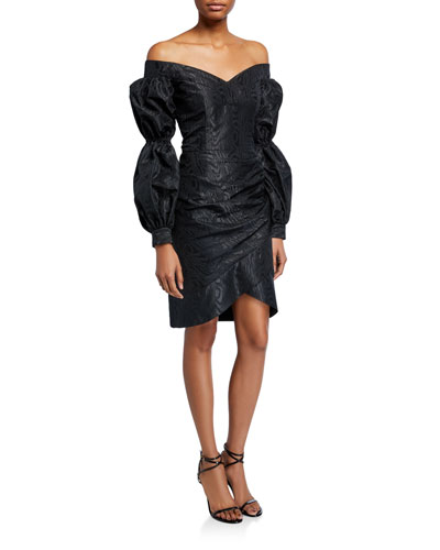 Taxco Moire Off-the-Shoulder Balloon-Sleeve Cocktail Dress