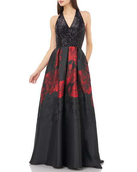 Carmen Marc Valvo Infusion Sequin Bodice Halter V-Neck Gown w/ Printed Mikado Skirt