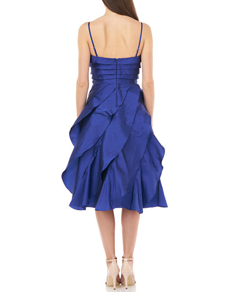 Image 2 of 2: Carmen Marc Valvo Infusion Strapless Multi Tiered Taffeta Party Dress